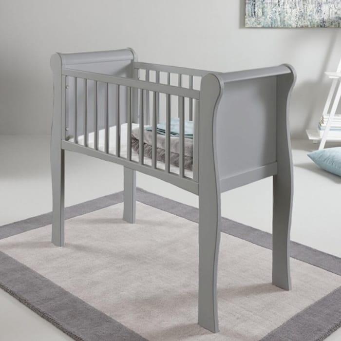 Little Acorns Sleigh Crib & Foam Mattress - Grey