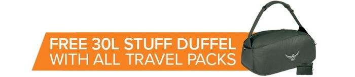 FREE Ultralight Stuff Duffel worth £30 When You Order Any Travel Pack