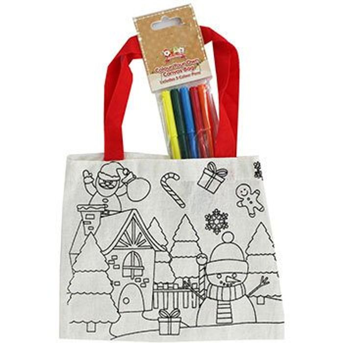 Colour Your Own Christmas Canvas Bags - Assorted