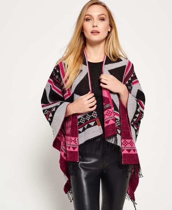 New Womens Superdry Kaya Blanket Cape Black Only £9.99