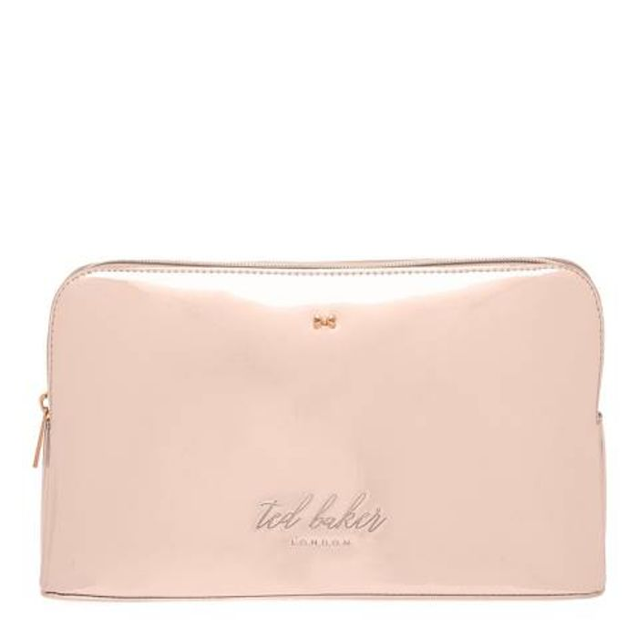 TED BAKER Rose Gold Mirrored Lauran Wash Bag