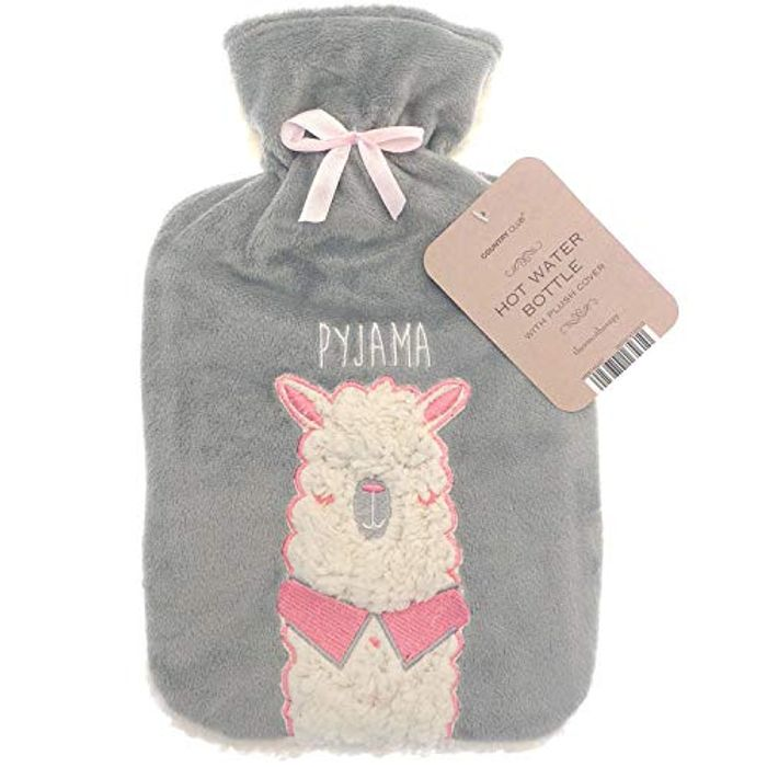 Large 2 LTR Hot Water Bottle Plush Fleece Llama Design FREE DELIVERY
