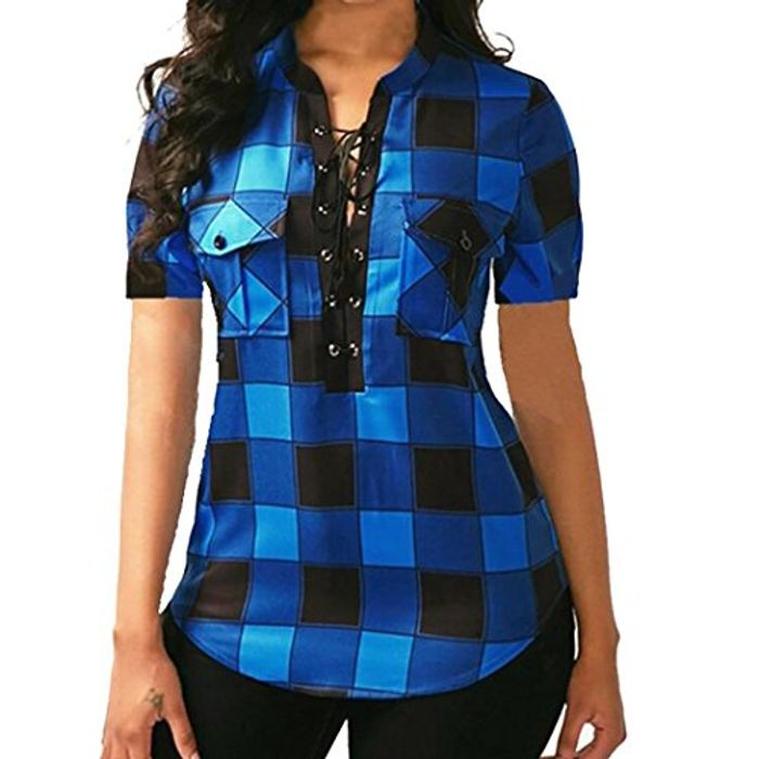 Deep v Neck Fitted Flannel Shirts