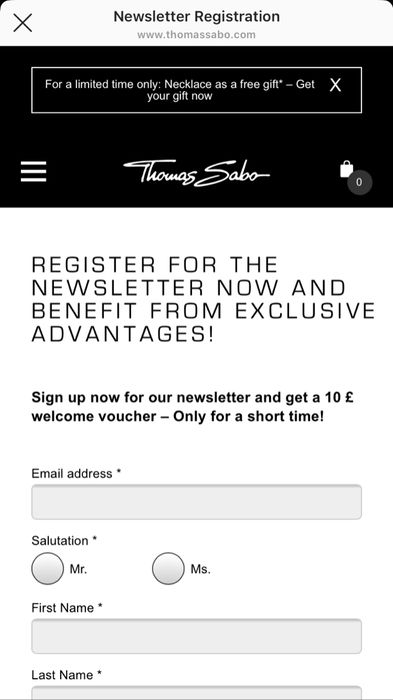 Free £10 off a £75 spend voucher When Signing up to the Thomas Sabo Newsletter