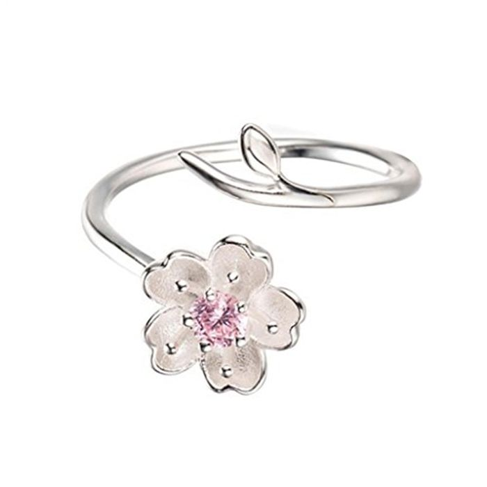 925 Sterling Silver Plated Cherry Blossom Sakura Open Ring FREE DELIVERY