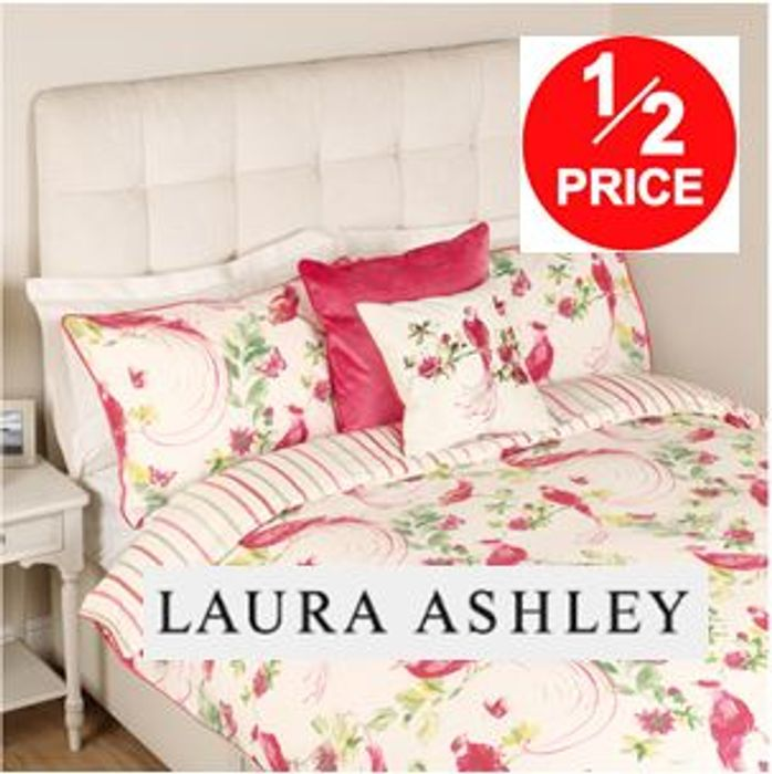 HALF PRICE Laura Ashley Harewood Print Pink Grapefruit Duvet Cover