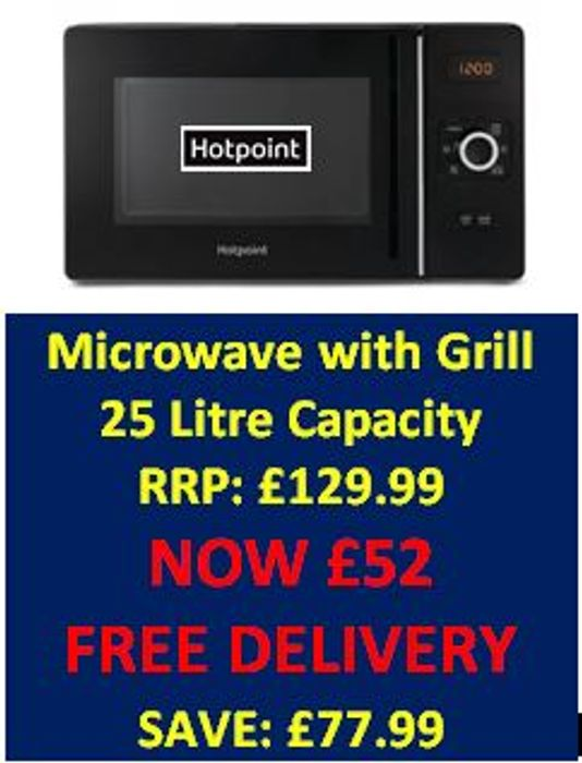 CHEAP DEAL! Hotpoint Microwave with Grill RRP £129.99 - DEAL £52 with CODE