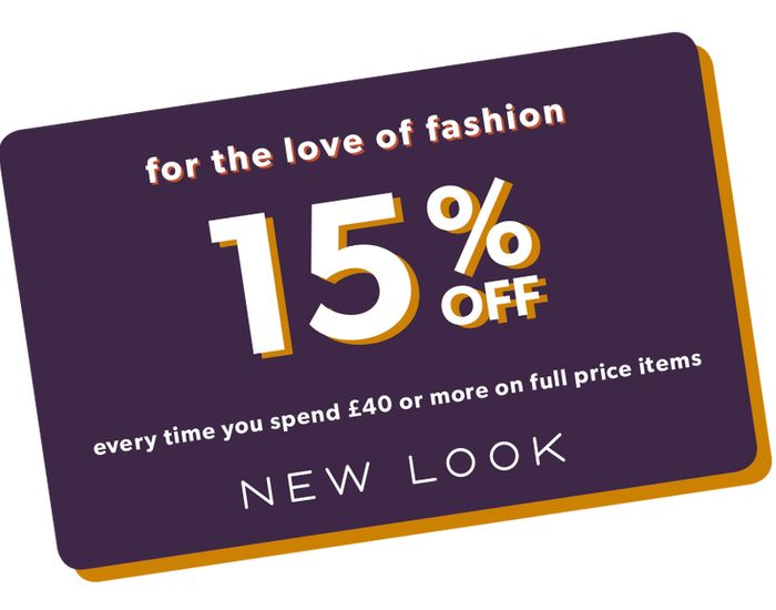 15% off Orders over £40 with the Discount Card at New Look