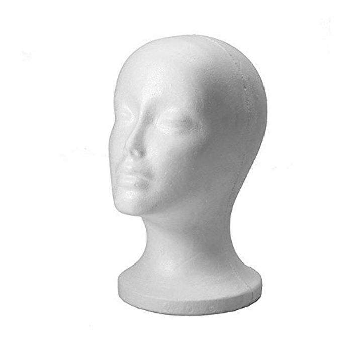 Polystyrene White Female Display Head Mannequin for Wig
