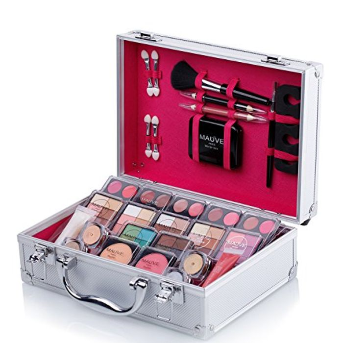 Maúve Carry All Trunk Train Case with Makeup Case (SILVER)