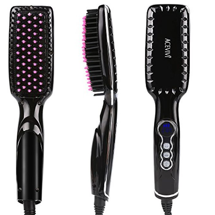 Electric Heating Hair Straightening Ceramic Detangling Comb - 5 Modes