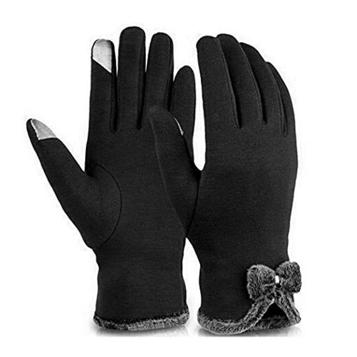 Women Fashion Bow Velvet Gloves
