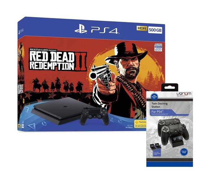 SONY PlayStation 4, Red Dead Redemption 2 & Twin Docking Station Bundle £259.99