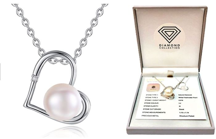 Special Offer Genuine Diamond and Freshwater Pearl Pendant - 90% Off!