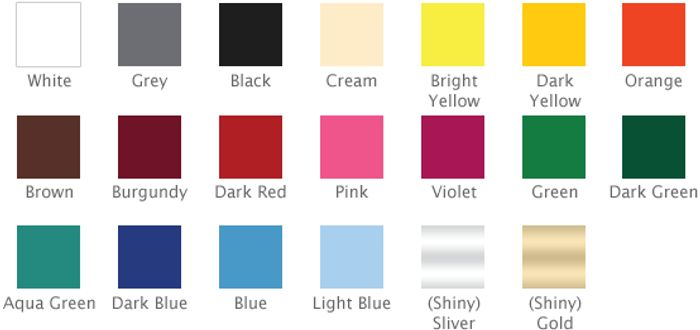 FREE 20 Colour Vinyl Sample Swatch Chart