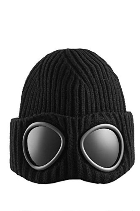 Mens Goggle Beanie Knitted Woolly Winter Chunky Beanie Hat