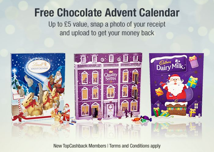 Free Chocolate Advent Calendar When You Register with TopCashBack