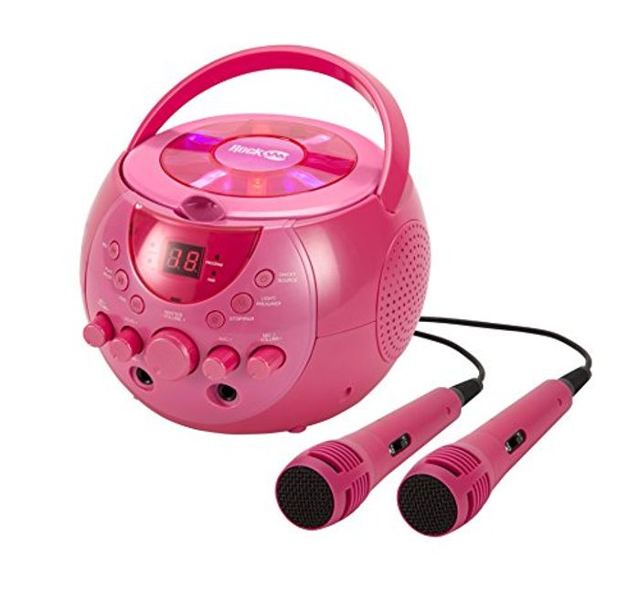 £10 off RockJam Karaoke Machine with Two Mics in Pink
