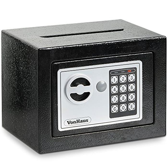 VonHaus Home Mini Safe Box with Key & Electronic Keypad