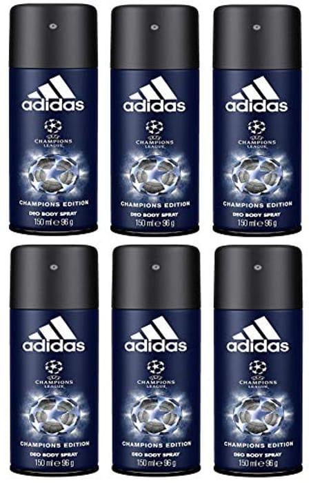 Super Bargain- Adidas Champions League Deodorant for Men, Pack of 6 (6 X 150 Ml)
