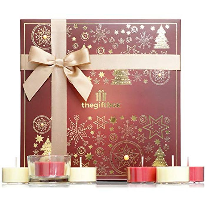 Dazzlebeam Snow Luxury Candle Gift Set Filled with 21 X Festive Fragranced Tea