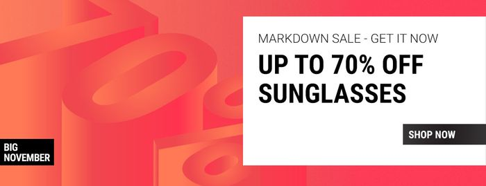 70% off at Sunglasses Shop While Stocks Last