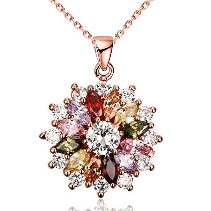 Zirconia Flower Shape Rose Gold Plated Pendant Necklace for Women Girls