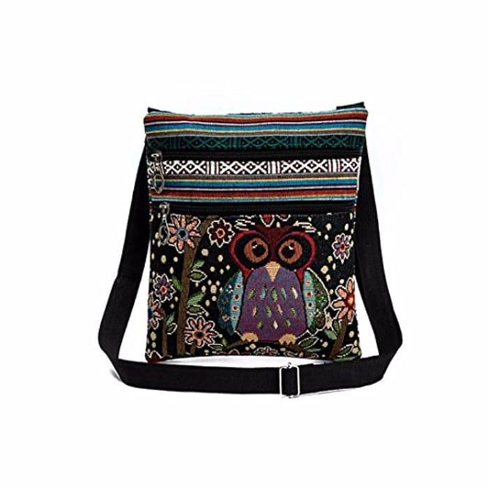 Fashion Embroidered Owl Tote Bag