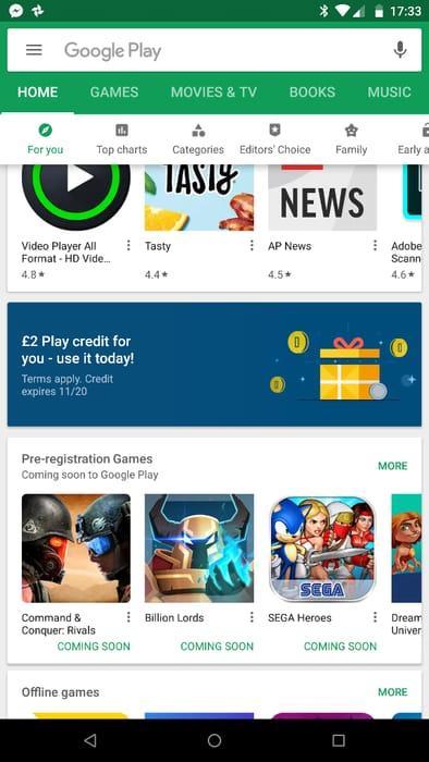 Free £2 Google Play Store Credit