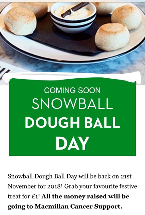 Snowball Dough Ball Day on 21st November at Pizza Express- Only £1