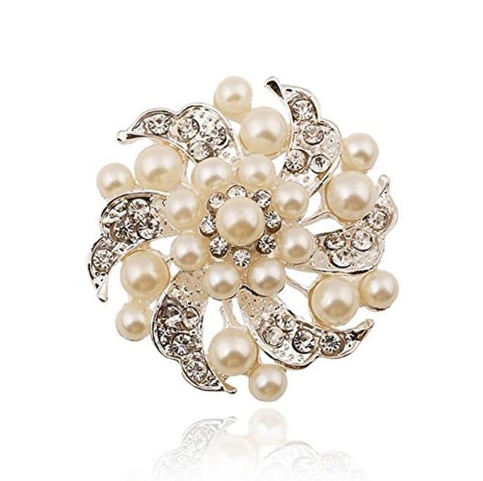 Pearl Flower Design Brooch