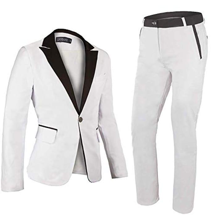 Wedding Suit Men White One Button Suits Tuxedo Trouser Shawl Lapel Casual Blazer