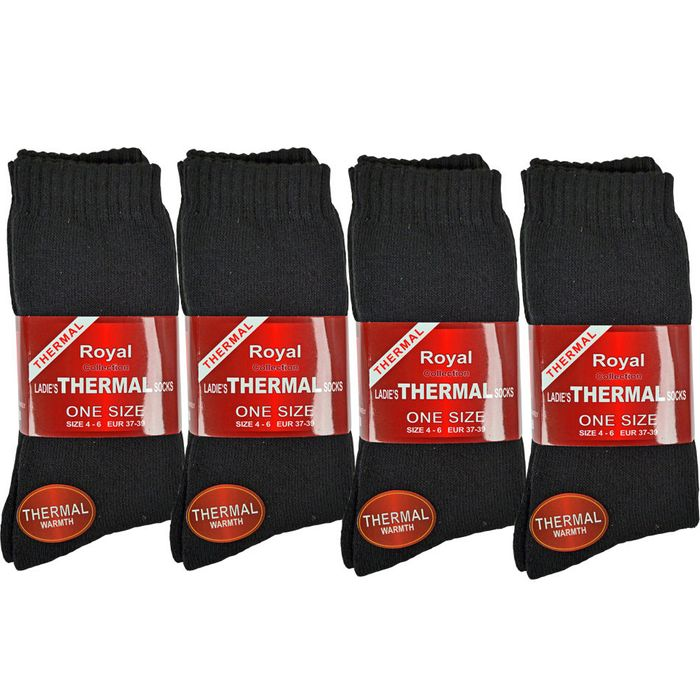 12 PAIRS MEN &WOMEN BLACK THERMAL SOCKS Only £10.95