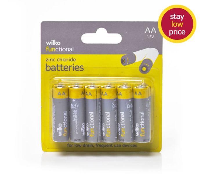 Wilko Functional Zinc Chloride Batteries AA 1.5V 12pk Only £1