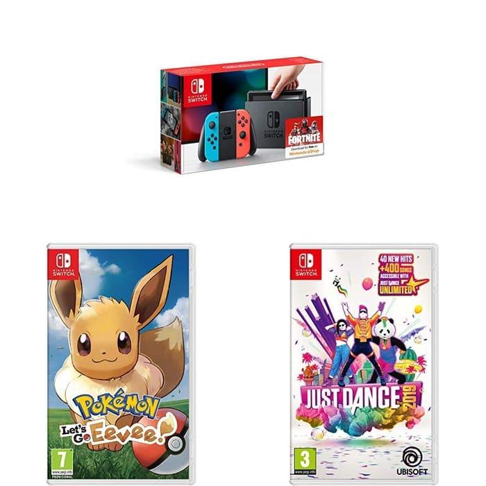 Nintendo Switch Console + Pokemon : Let's Go Eevee + Just Dance 2019