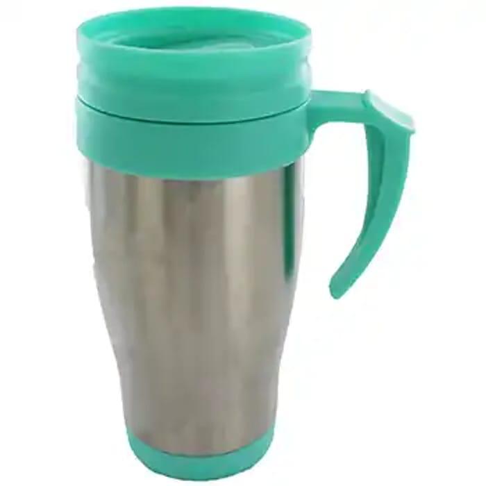 Turquoise/Grey Handle Travel Mug