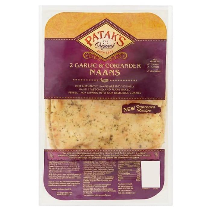 HALF PRICE Pataks Garlic and Coriander Naan Bread 2 Pack