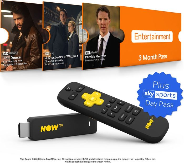 NOW TV Smart Stick with HD & Voice Search - 3 Month Entertainment Pass +