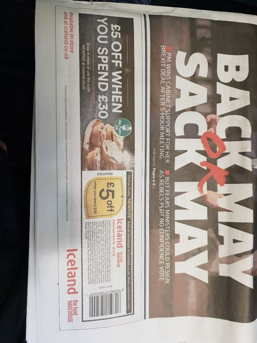 £5 off £30 at Iceland in Todays Metro