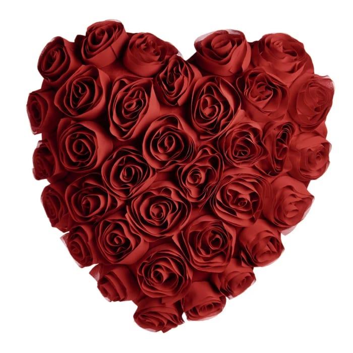 Wilko Heart Shaped Rose Cushion Red Free C&C