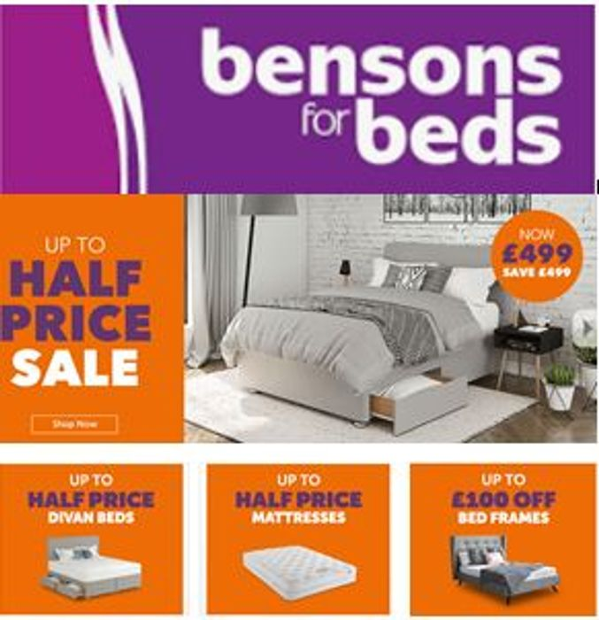 Up to HALF PRICE BEDS and MATTRESSES - Bensons for Beds SALE
