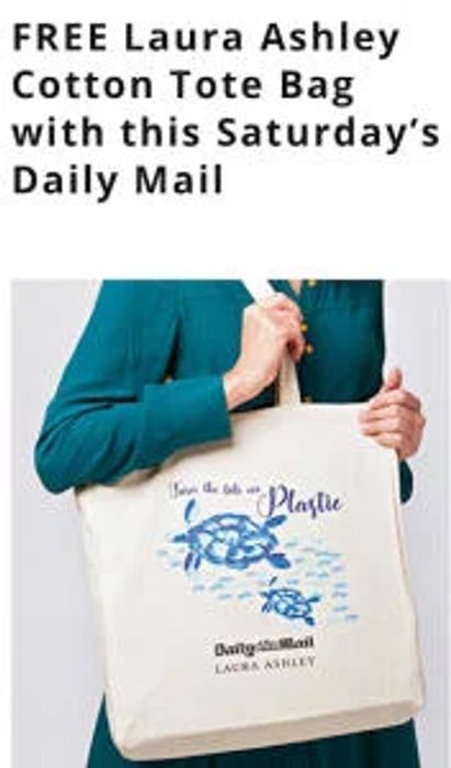 FREE Laura Ashley Cotton Tote Bag with This Saturdays Daily Mail