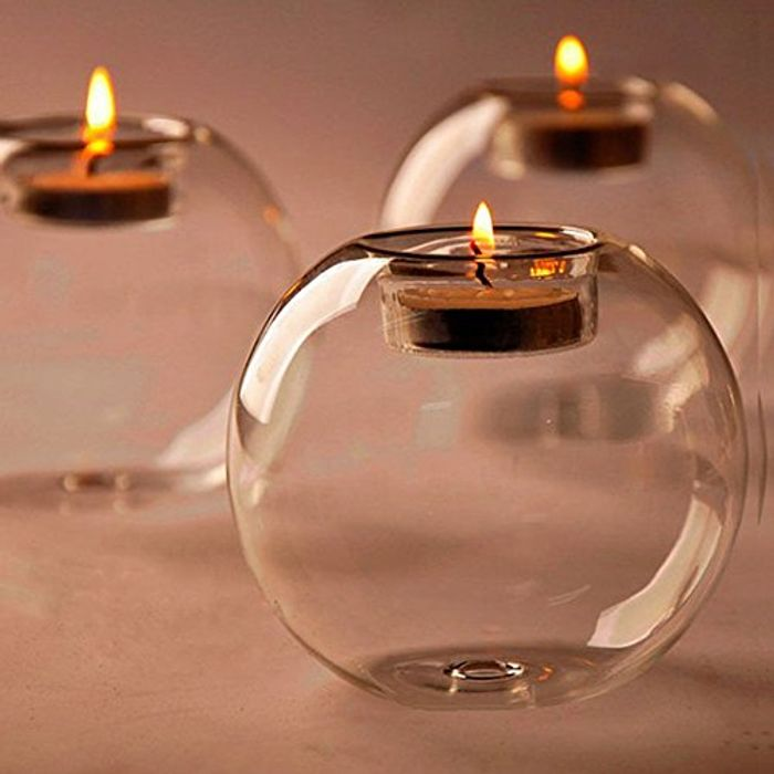 ZHUOTOP 1Pc Classic Crystal Glass Candle Holder Wedding Bar Party