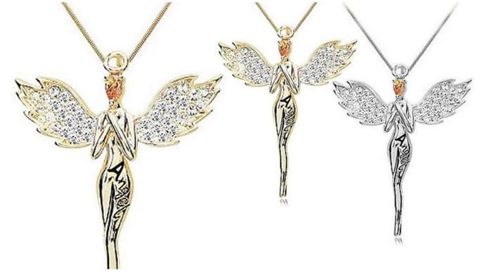 Swarovski Crystals Guardian Angel Necklace