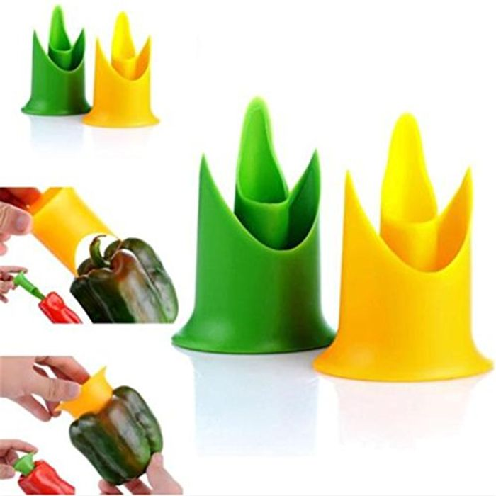 Pepper Corer Fruit Vegetable Tool Kitchen Accessories (Yellow)