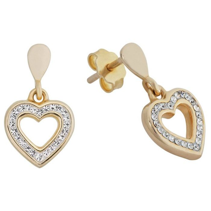 9ct Gold Plated Silver Crystal Set Open Heart Earrings