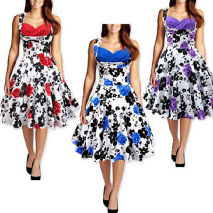 UK Women's Vintage 1950s Floral Boat Neck Rockabilly Evening Prom Swing Dress