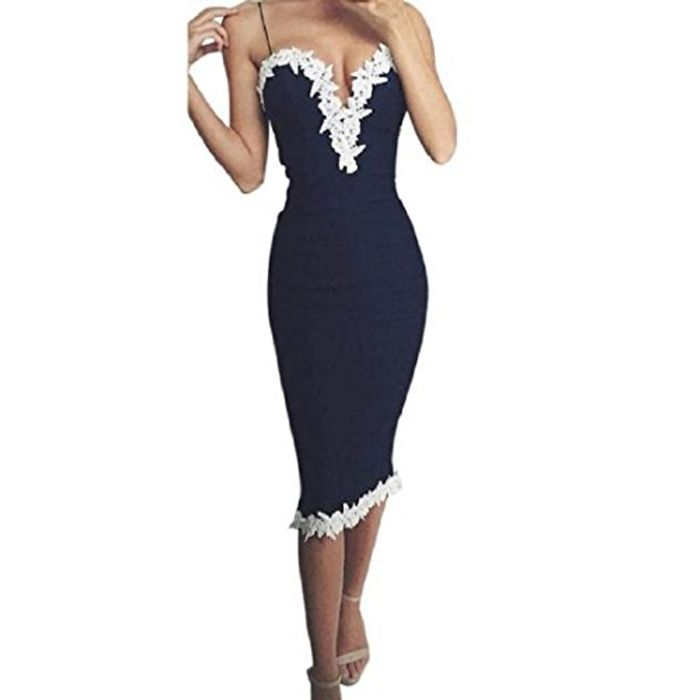 Bodycon v Neck Floral Lace Evening Dress + £2.99 Delivery