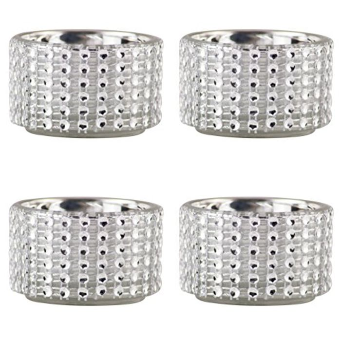 Pack of 4 - Decorative Silver Diamante Jewelled Tealight Candle Holders