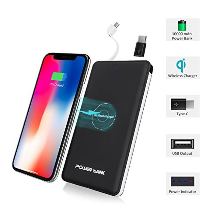 55%OFF Wireless Charger with 10000mAh Ultra Slim Portable Power Bank- £9@Amazon